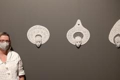 Mes 3 masques Ignames exposés au Musée International du Carnaval et du Masque à Binche